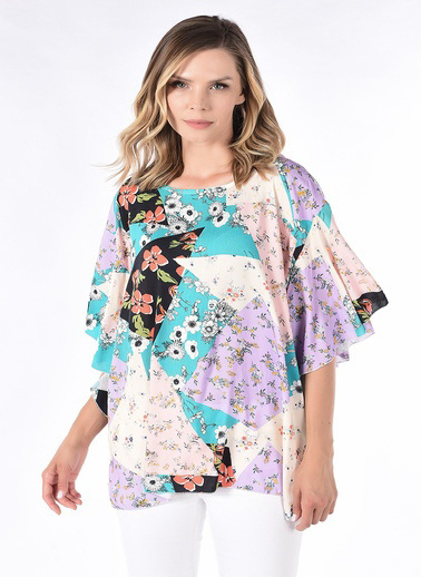 WHIP Design Orjinal Çiçek Desenli Fermuarlı Yaka Uzun Kol Penye Bluz Renkli